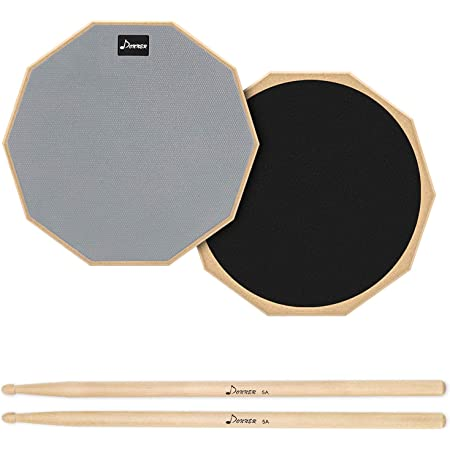 Donner Drum Practice Pad, 12 Inch Double Sided Silent Drum Pad With Drumsticks, Gray