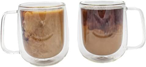 OneGlobalGeneration Insulated Coffee Mug w/ Handle (Set of 2) 300 ml Double Walled Glass Coffee Mugs Heat Resistant Borosilicate Glass, Durable Clear Glass Cup, Microwave Safe, Dishwasher Safe