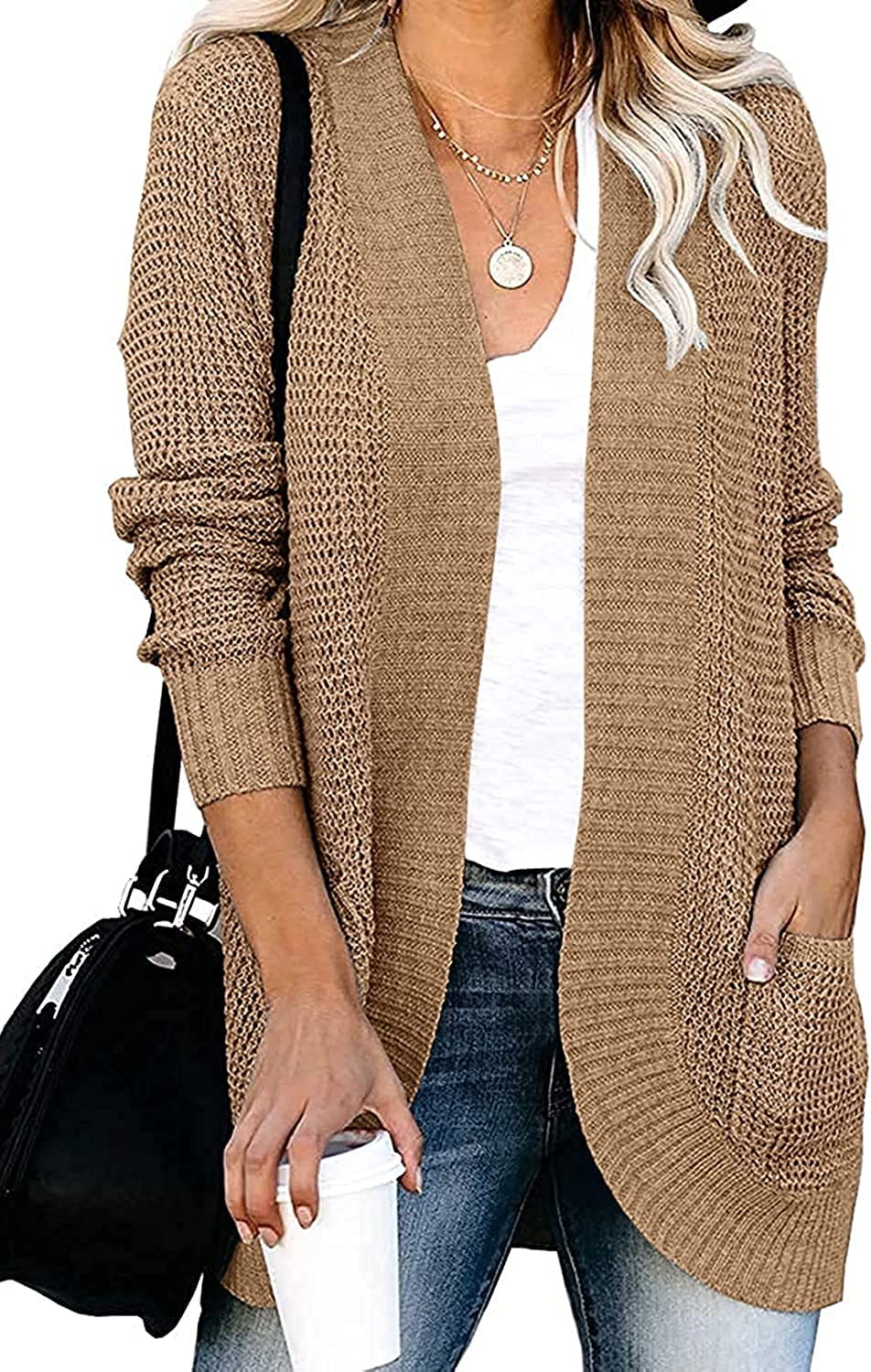ZOCANIA Women's Long Sleeve Open Front Casual Lightweight Soft Knit Cardigan Sweater Outerwear with Pockets