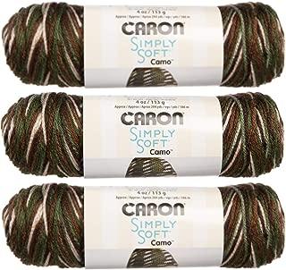 Caron (3 Pack Simply Soft Camo 100% Acrylic Soft Mash Camo Brown Green White Blend Yarn for Knitting Crocheting Medium #4