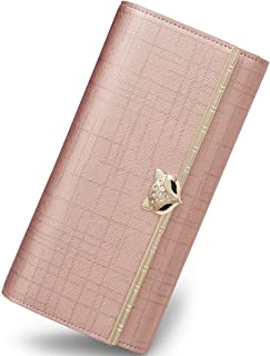 FOXER Women Leather Trifold Wallet Long Clutch Wallet with Zipper Pocket for Ladies