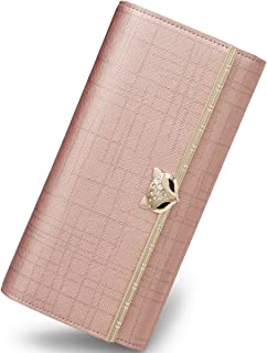 Women Leather Wallet Trifold Wallet Long Clutch Wallet Card Holder Valentine's Day Gifts