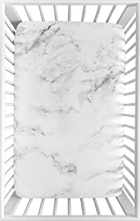 Sweet Jojo Designs Grey, Black and White Baby Boy or Girl Unisex Fitted Mini Portable Crib Sheet for Marble Collection - for Mini Crib or Pack and Play ONLY
