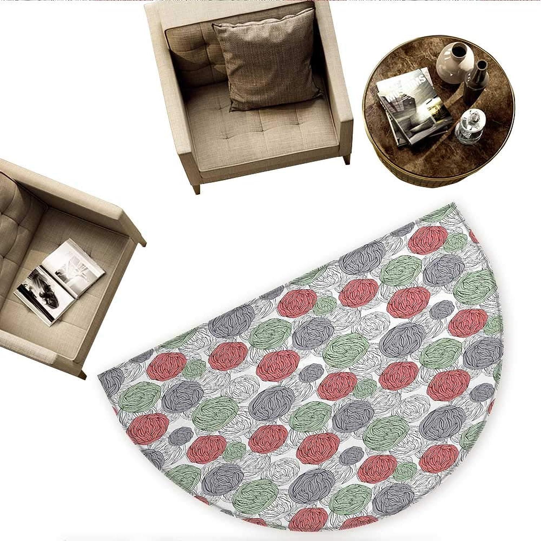 Retro Semicircle Doormat Knitting Balls Crochet Hand Made Theme Domestic Hobby Vintage Theme Halfmoon doormats H 63  xD 94.5  Coral Grey Reseda Green