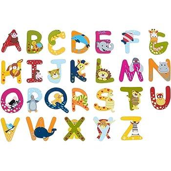 A Brink Holzspielzeug Buchstaben Holz T/ür B/ären ABC bunt Holzbuchstaben T/ürschild Bunte Kinderzimmer