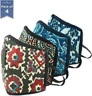 HomeStrap 3 Layer Reusable 4 Piece Printed Fashion Safety Outdoor Mask/Mouth & Nose Cover (Multicolour)