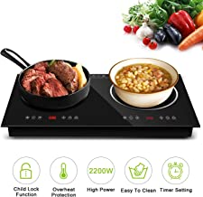 Topmin Cooktop944 Portable Cooktop Induction Cooker + Ceramic Furnace 2200W Electric Stove with Kids Safety Lock, 9 Power Levels Suitable for All Cookware, 29.5 x 29.5 x 5, Black