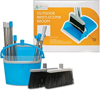 """BristleComb Outdoor Broom and Dustpan Set Upright – 64"""" Long Collapsible Broom and Dust Pan with Long Handle, Self Cleaning Comb & 2 Interchangeable Heads of Different Stiffness - Medium and Coarse"""
