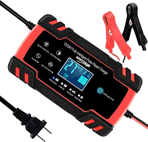 wholesale SUHU Car Battery Charger, 12V/8A 24V/4A Smart Automatic Battery Charger Maintainer Trickle Charger for Car wholesale Truck Motorcycle Lawn Mower Boat Marine RV SUV ATV SLA wholesale Wet AGM Gel Cell Lead Acid Battery online sale