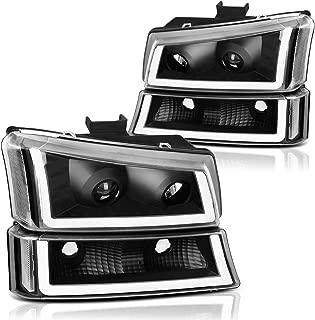 AUTOSAVER88 Projector Headlight Assembly kit for 2003 2004 2005 2006 Chevy Avalanche Silverado 1500 2500 3500/2007 Chevrolet Silverado Classic Pickup Headlamp,Black Housing Clear Reflector
