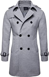 AOWOFS Mens Trench Coat Woolen Winter Long Double Breasted Overcoat Slim Fit Warm Pea Coat