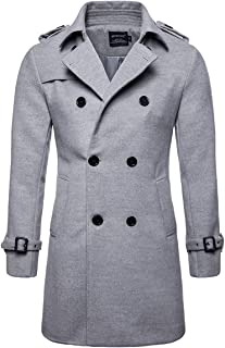 AOWOFS Men's Trench Coat Woolen Winter Long Double Breasted Overcoat Slim Fit Warm Pea Coat