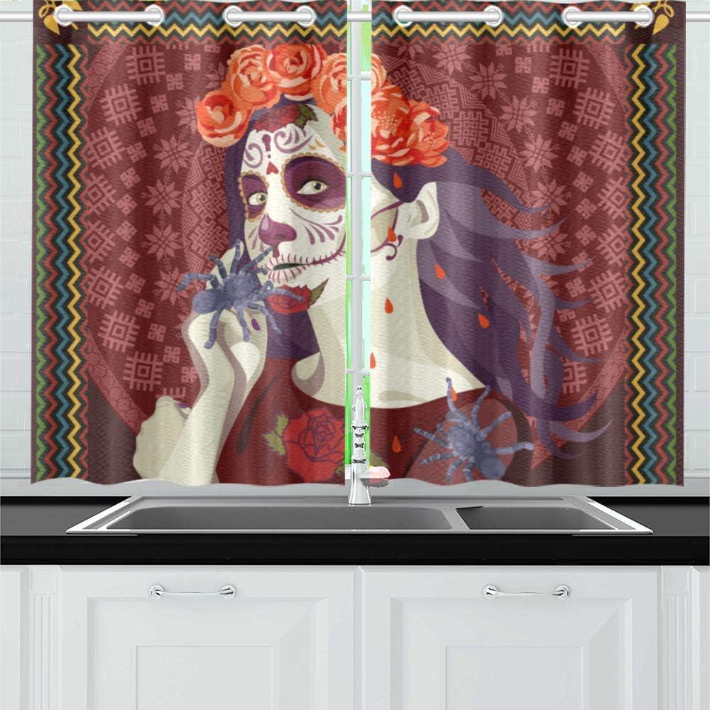 INTERESTPRINT Blackout Selling rankings Kitchen Window Small In stock Treatments Panel Dra