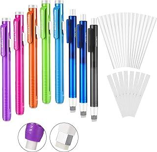 32 Pieces Retractable Click Eraser and Refills Set Include 8 Pieces Mechanical Eraser Pen and 24 Pieces Pencil Eraser Refi...