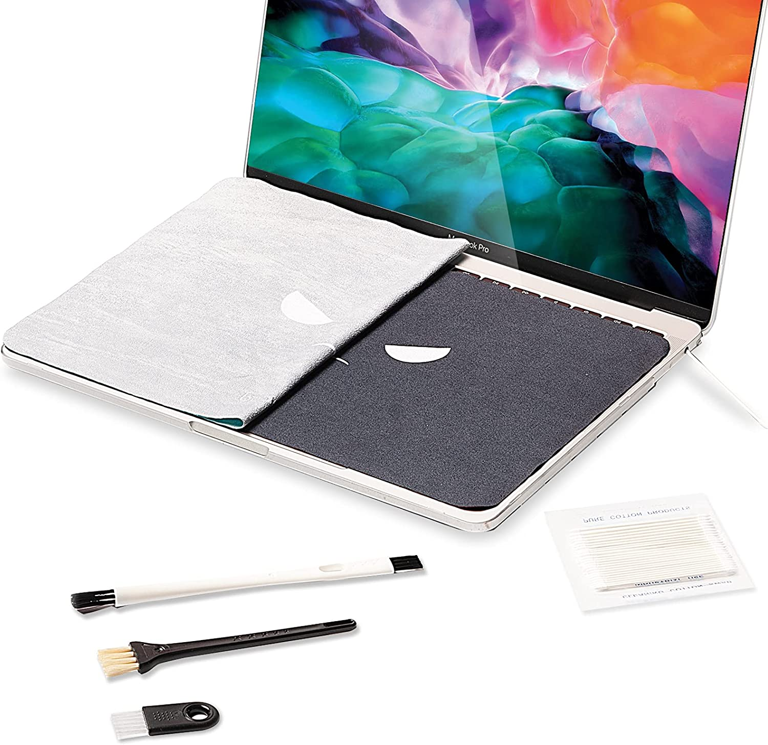 Bqover 2 Pack Reversible Screen Keyboard Imprint Protection, Keyboard Covers,Microfiber Liner Cleaning Cloth for MacBook,Laptops,30 Pcs Cleaning Kit for iPhone, Airpods and other Electronics