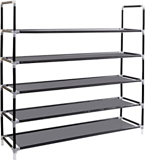 ABO Gear Shoe Rack Shoe Racks for Closets Organizer Portable Shoe Storage Organizer,25 Pairs Stackable, Easy to Assemble, No Tools Required, Black
