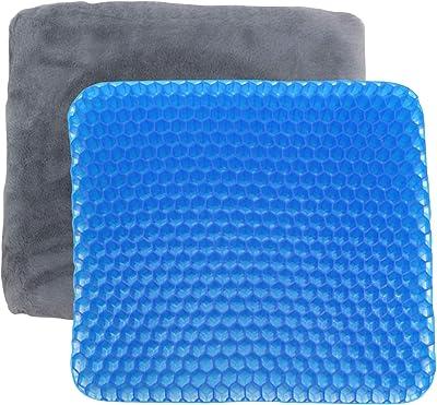 東京Deco ゲルクッション ハニカム 通気性 ボアカバー付き [通気性を極めたジェルクッション] 水洗い可能 極厚 二重ハニカム構造 座布団 i001