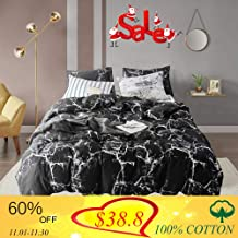 Wellboo Black Marble Duvet Cover Cotton Twin Black and White Marble Bedding Sets Adults Women Men Quilt Covers Modern Abstract Duvet Covers Organic Luxury Gothic Chic Covers Soft Health No Insert