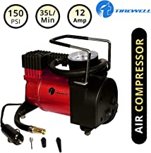 TIREWELL TW-7003 12V Heavy Duty Tire Inflator with Tornado Motor Portable Tyre Air Compressor Pump with Professional Analog Pressure Gauge and 3 Nozzle (150 PSI)