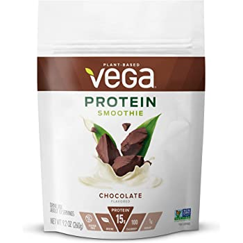 Vega Protein Smoothie, Chocolate, Plant Based Protein Powder - Vegan Protein Powder, Keto-Friendly, Vegetarian, Gluten Free, Soy Free, Dairy Free, Lactose Free, Non GMO (12 Servings, 9.2oz)