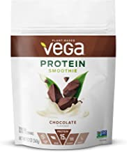 Vega Protein Smoothie, Chocolate, 10 Servings, 9.2 oz Pouch, Plant Based Vegan Protein Powder, Keto-Friendly, Gluten Free, Non Dairy, Vegan, Non Soy, Non GMO (Packaging May Vary)