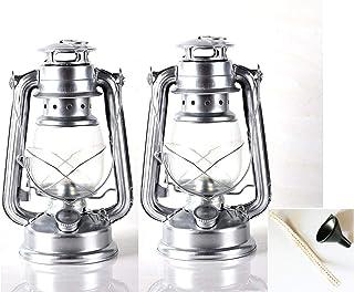 2ランプの キャンプ 防災用 ライト 照明 ランタン 中 ブロンズ, 灯油ランプ 野生の非常灯ビンテージランタンHURRICANE LANTERN,19cm (2ランプ,19cm(亜鉛メッキ))