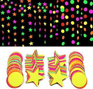 Iceyyyy 78ft Black Light Neon Star Paper Garland Banner Hanging Decorations, Black Light Party Supply Glow-in-The-Dark with UV Reactive UV Light for Birthdays Party Wedding Decorations (6 Pack)