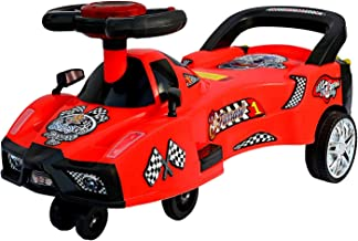 BabyGo Baby Furrari Swing Magic Car Ride On for Kids with Music and Light (Red)
