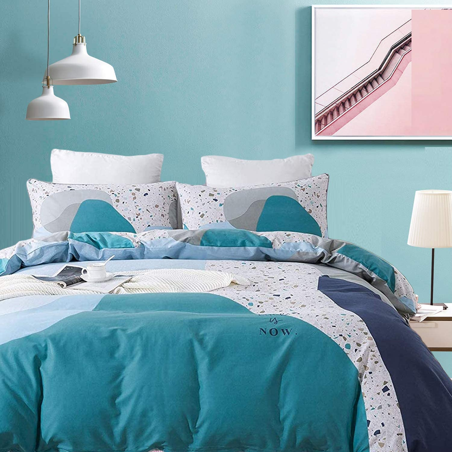 Max 82% OFF safety FADFAY Cotton Duvet Cover Queen Zipper Beddi Turquoise Size Blue