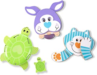 Melissa & Doug First Play Favourite Pets Wooden Grasping Toys for Baby and Toddler (4 Pcs)