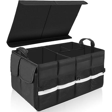 Keafols Kofferraumtasche Auto Kofferraum Organizer Mit Klettverschluss Deckel Universal Faltbare Autotasche Aufbewahrungstasche Auto Kofferraum Box Für Auto Auto