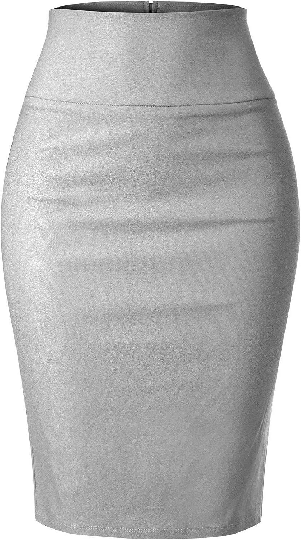 MixMatchy Women's Stretch Office Knee Length Midi Pencil Skirt
