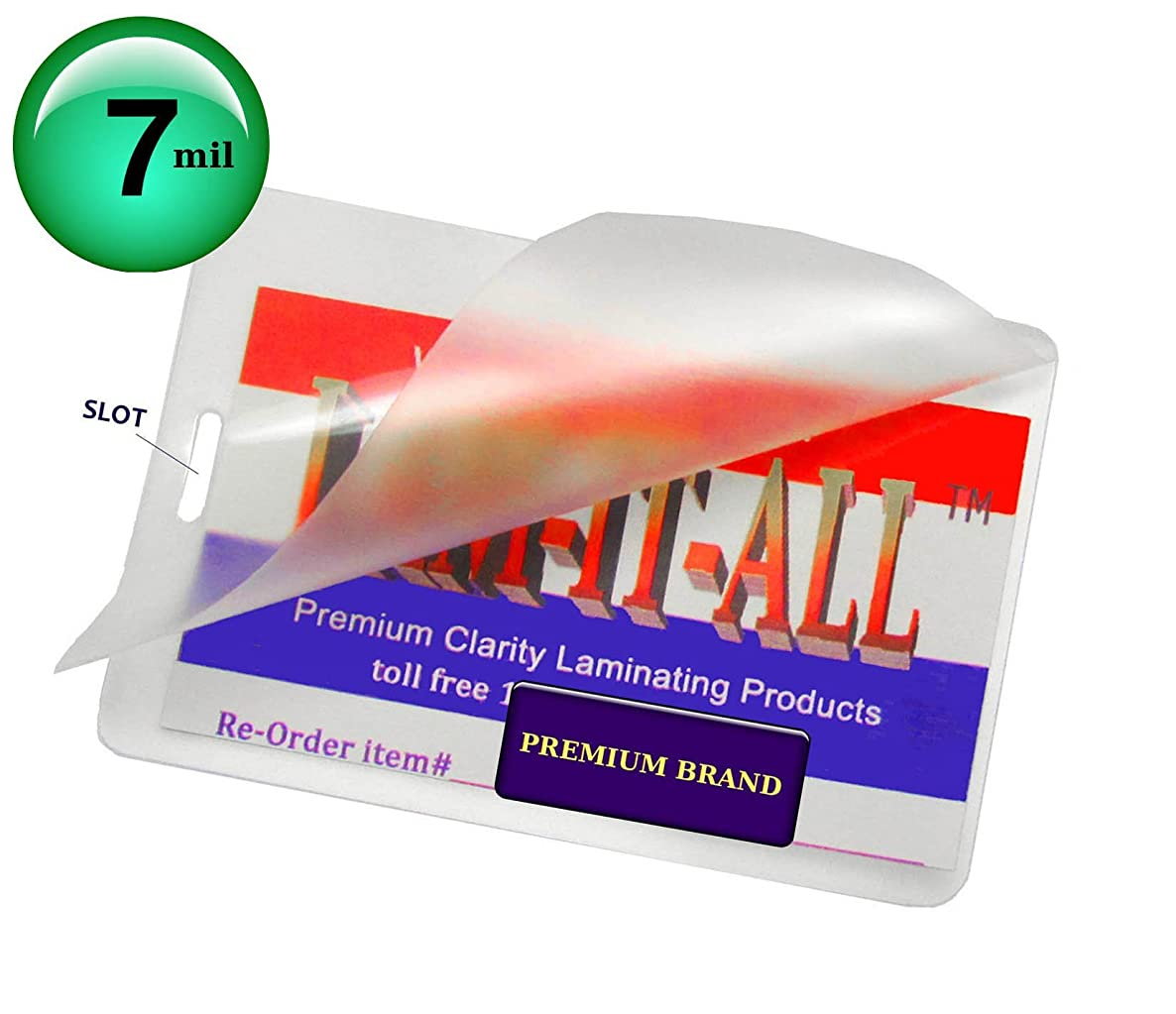 Hot 7 Mil Luggage Tag Laminating Pouches with Slot [Pack of 100] 2-1/2 X 4-1/4 Clear by LAM-IT-ALL