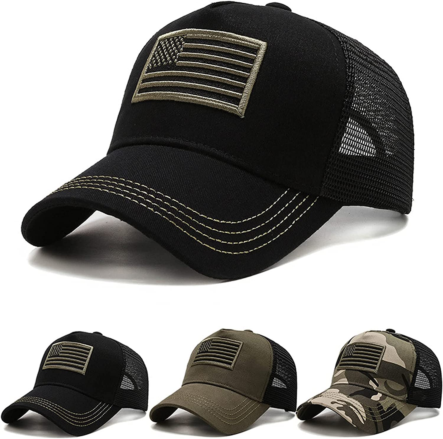Men's and Women's American Flag Camouflage Baseball Cap Embroidery Adjustable Mesh Sun Hat