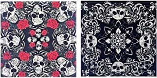 Skulls and Roses Bandana Set, Accessories for Men, Women, Dogs, Pirates, Bikers