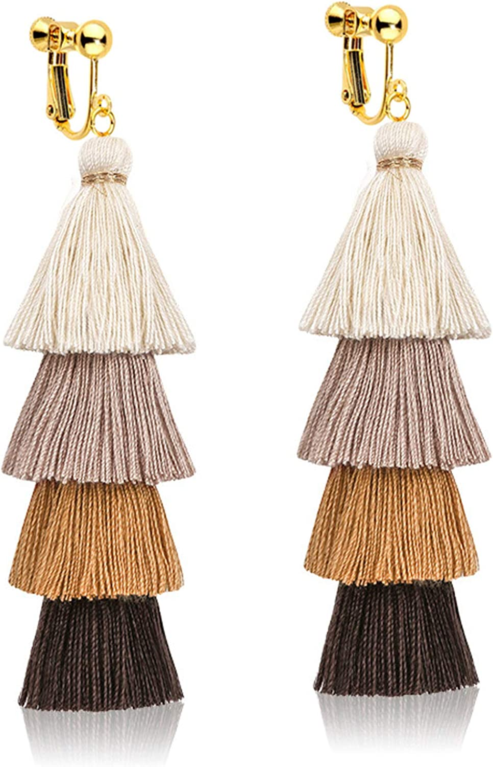 Dealing full price reduction 4 Tiered Tassel Long Clip on Back for Girls Earrings Screw Women ! Super beauty product restock quality top!