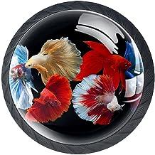Ladeknoppen Ronde Kristal Glazen Kabinet Handgrepen Pull 4 Pcs,Multicolor Siamese Vechten Vis Rose