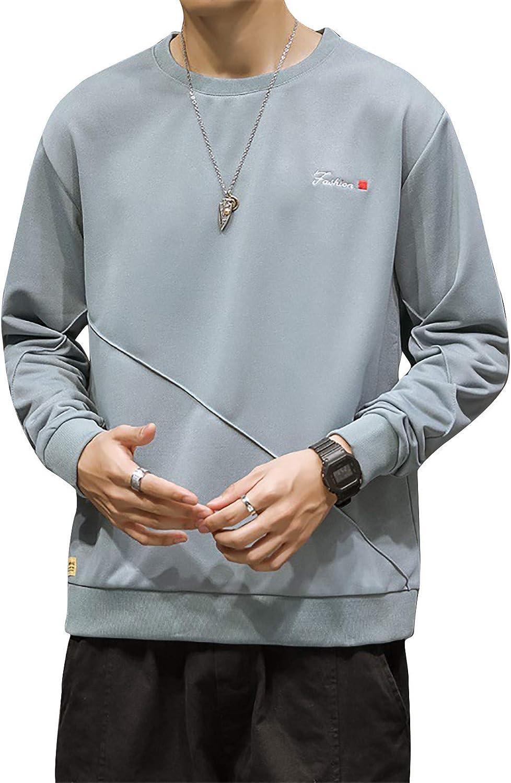 Men's Sweatshirt Mens Casual Sweatshirt Long Sleeve Loose Pullover Fashion Crewneck Sweatshirt Top Pullover
