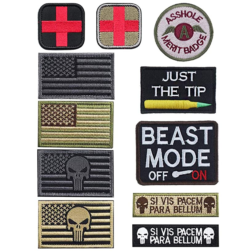 Bundle 11 Pieces Tactical Military Morale Patch Set, USA Flag Patches and Morale Patch
