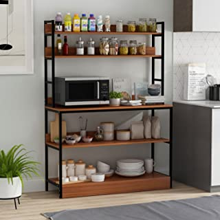 FAMAPY Kitchen Baker's Rack with 5 Tier Shelves 39 inch, Wood Microwave Oven Stand Free Standing Rack with Storage Walnut...