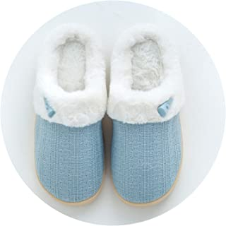 Slippers Women Buttons Couples Cotton Cloth Slippers in Winter Non-Slip Warm Japanese Cotton Slippers at Home