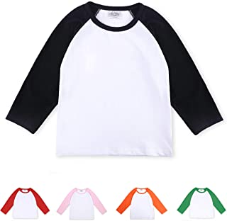 CloudCreator Toddler Baby Girls Boys Long Sleeve Shirts Raglan Shirt Baseball Tee Cotton T-Shirt