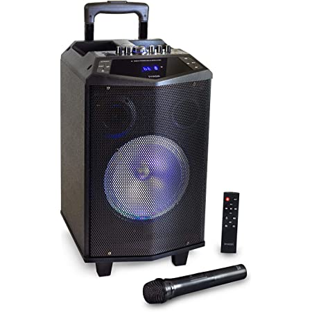 HAISER HSR 131 BT | Mobiler-Party-Lautsprecher mit • Akku • Mikrofon • Bluetooth • USB • Micro SD • MP3 • Radio • Fernbedienung | Musik-Box-Anlage Karaoke-System Trolley mit leistungsstarkem Bass BT