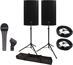 Mackie THUMP12a 2 Thump Series 12-Inch Powered Loudspeaker with a Pair of Tripod Speaker Stands with a Bag, a Mic and 2 XLR Cable Bundle