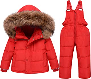 amropi Baby Girls 2 Piece Snowsuit Hooded Puffer Down Jacket and Snow Ski Bib Trousers Winter Outfits Set for 1-5 Years