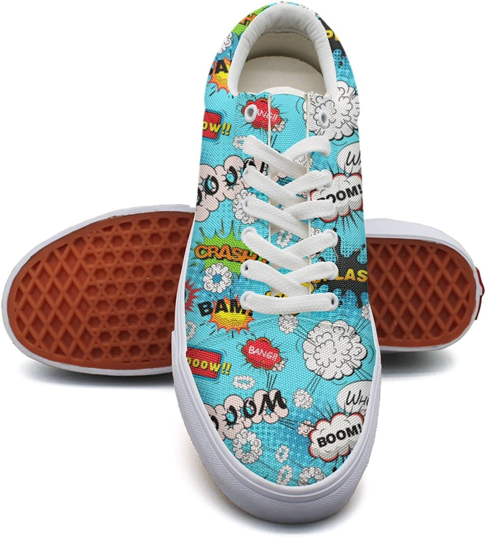 Feenfling bluee Comic Speech Bubbles Womens Plain Sneakers shoes Low Top Popular Sneakers shoes for Women's
