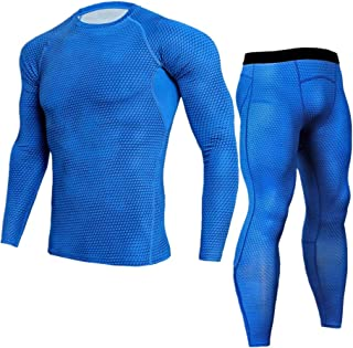 Morbuy Men's Fitness Gym Clothing Set, 2 Pcs Exercise Sports Clothes Men Compression Shirt Tights Pants Workout Running Training Casual Bodybuilding Suit Tracksuits