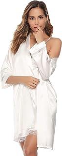 Sykooria Women's Dressing Gown, 2 Pieces Silk Satin Short Kimono Robe Pajama Dress Lace Lingerie Set Bathrobe Nightgown
