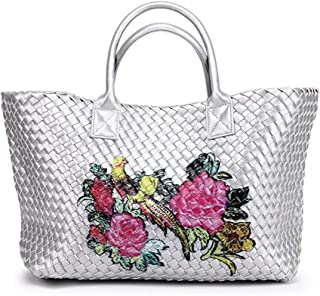 Shoulder Bag Handmade Woven Leather Cross Stitch Hobo Graffiti Handbag Women Large Capacity Knitting Bag Casual Tote Handbag Clutch (Color : Silver White)
