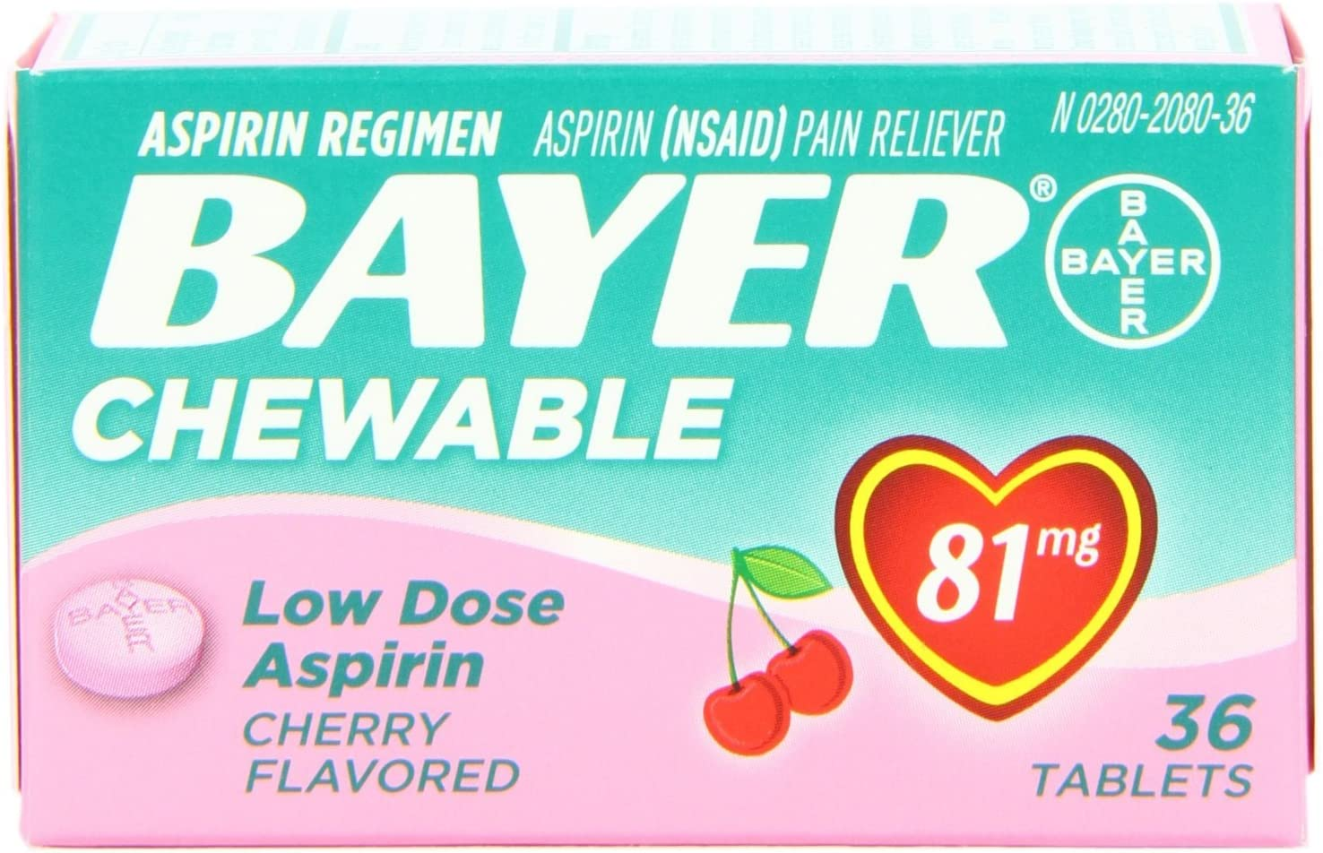 Bayer Chewable Max 75% OFF Low Dose Seattle Mall 3 Cherry Count Aspirin